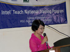 Dr.              Lydie Paderanga delivering a message
