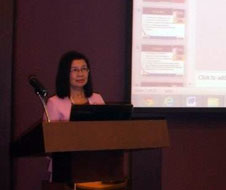"""Dr.              Lydie              D. Paderanga delivered a paper on the """"Contribution of              ICT for Mobile              Literacy Program of Alternative Learning System."""""""
